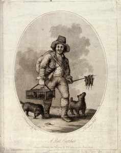 V0020299 A rat-catcher (accompanied by two dogs) carrying a cage of l Credit: Wellcome Library, London. Wellcome Images images@wellcome.ac.uk http://wellcomeimages.org A rat-catcher (accompanied by two dogs) carrying a cage of live rats in his right hand and a sharpened wooden stick with dead rats dangling from it in his left. Stipple engraving by J. Baldrey, 1789, after H.W. Bunbury. 1789 By: Henry William Bunburyafter: John Kirby BaldreyPublished: 26 January 1789 Copyrighted work available under Creative Commons Attribution only licence CC BY 4.0 http://creativecommons.org/licenses/by/4.0/